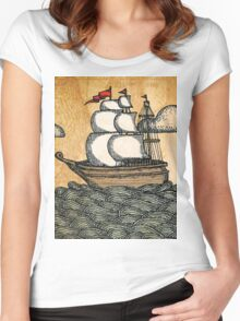 Ship on the Ocean, Antique Texture Women's Fitted Scoop T-Shirt