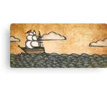 Ship on the Ocean, Antique Texture Canvas Print
