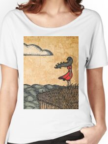 Girl by the Ocean, Antique Texture Women's Relaxed Fit T-Shirt