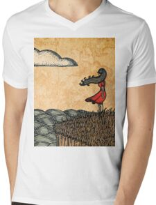 Girl by the Ocean, Antique Texture Mens V-Neck T-Shirt
