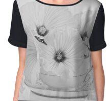 Lavatera Flowers In Tea Cup - Still Life Chiffon Top