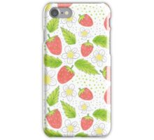strawberry pattern with flowers and leaves iPhone Case/Skin