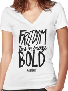 Robert Frost: Freedom Women's Fitted V-Neck T-Shirt