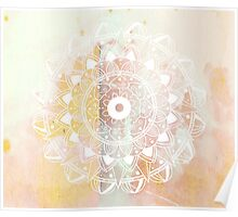White mandala on pastel background Poster