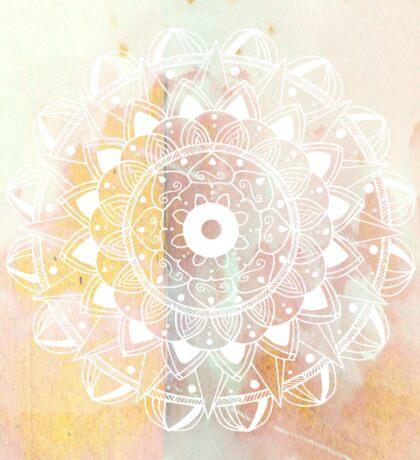 White mandala on pastel background Sticker