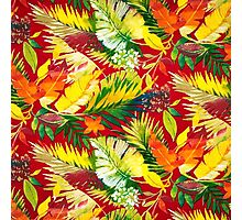 Fabric Art, Pattern, Bold Bright Colorful Leafs Photographic Print