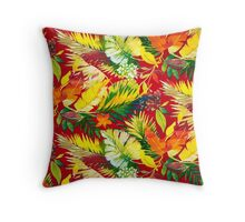 Fabric Art, Pattern, Bold Bright Colorful Leafs Throw Pillow