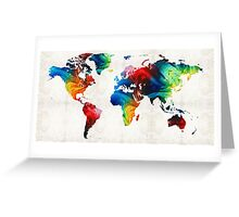 World Map 19 - Colorful Art By Sharon Cummings  Greeting Card