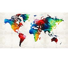 World Map 19 - Colorful Art By Sharon Cummings  Photographic Print