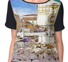 L'Aquila: collapsed church with fountain truck and rubble Chiffon Top
