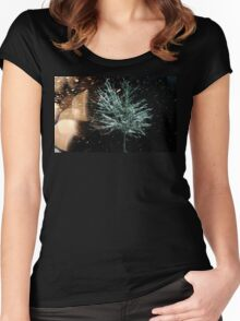 Tree in Snow Fall Women's Fitted Scoop T-Shirt
