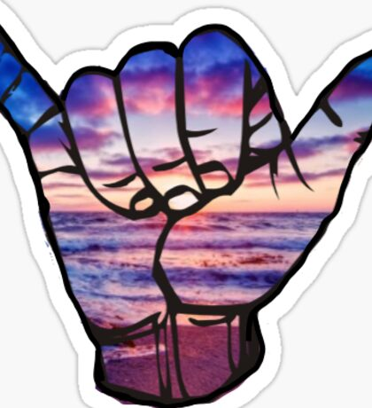 Ocean Sunset Shaka Sticker