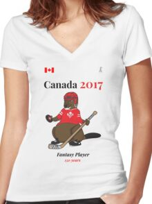 Celebrate Canada Day, Canada 150 and Canada 2017 First With our Canadian Hockey, Curling, Party, Cool and Heritage Beaver Shirt Selection! Women's Fitted V-Neck T-Shirt