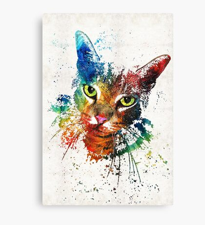 Colorful Cat Art by Sharon Cummings Canvas Print
