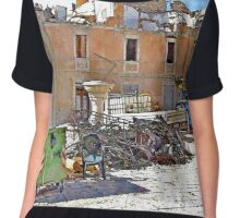 L'Aquila: collapsed buildings with rubble and fountain Chiffon Top