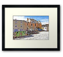 L'Aquila: collapsed buildings with rubble and fountain Framed Print