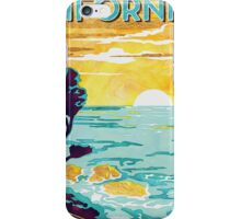 Coastal California Vintage Poster Watercolor Painting on Canvas iPhone Case/Skin