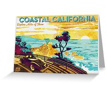 Coastal California Vintage Poster Watercolor Painting on Canvas Greeting Card