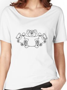 papa mama children kuscheltiere twins family holding teddy team crew buddies funny Women's Relaxed Fit T-Shirt