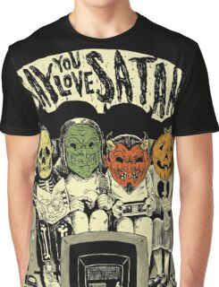Say You Love Satan 80s Horror Podcast Logo Graphic T-Shirt