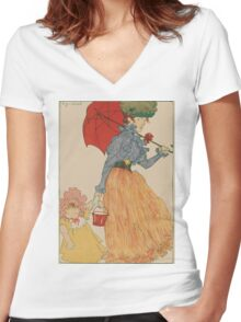 Mother with daughter, art nuevo, art deco style, kid with woman - vintage fashion art - Henri Evenepoel - At The Square Women's Fitted V-Neck T-Shirt
