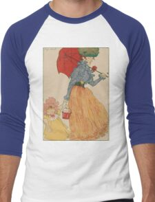Mother with daughter, art nuevo, art deco style, kid with woman - vintage fashion art - Henri Evenepoel - At The Square Men's Baseball ¾ T-Shirt
