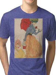 Mother with daughter, art nuevo, art deco style, kid with woman - vintage fashion art - Henri Evenepoel - At The Square Tri-blend T-Shirt