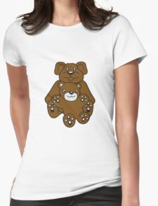 papa mama baby boy child cute sweet cartoon comic cuddle few team Womens Fitted T-Shirt
