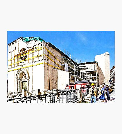 L'Aquila: collapsed church with grating and rubble Photographic Print