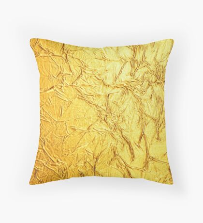 Bling Design, Wrinkled Foil Gold Hue Print Throw Pillow