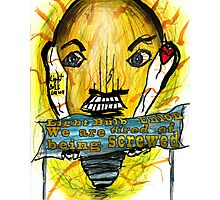 Light Bulb people are angry Photographic Print