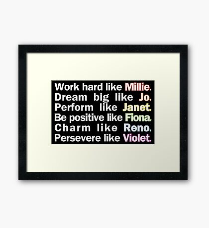 Admirable Characteristics of Sutton Foster Characters | Black Framed Print