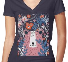 Bear Garden Women's Fitted V-Neck T-Shirt