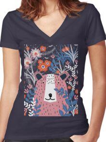 Bear Garden Women's Fitted V-Neck T-Shirt
