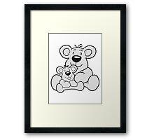 papa child, baby boy, mummy family sweet little cute polar teddy bear sitting funny dick Framed Print