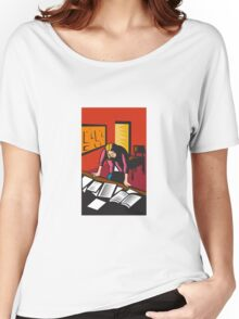 Teacher Depressed Table Classroom Woodcut Women's Relaxed Fit T-Shirt