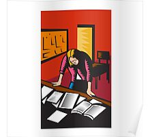 Teacher Depressed Table Classroom Woodcut Poster