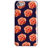 Orange roses on a dark purple background iPhone Case/Skin