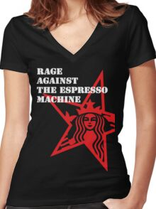 RATM : Rage Against The Espresso Machine Women's Fitted V-Neck T-Shirt