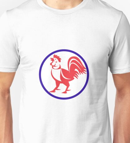 Chicken Rooster Crowing Circle Retro Unisex T-Shirt