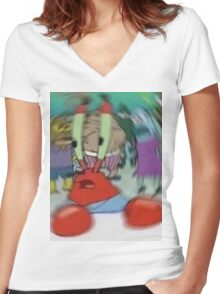 Disoriented Mr. Krabs Women's Fitted V-Neck T-Shirt