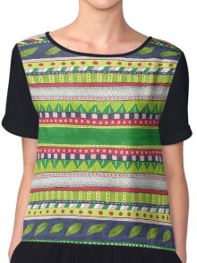 patterned stripes with leaves and flowers Chiffon Top