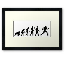 Evolution of Man and Football Framed Print