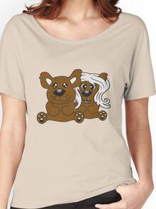 few couple friends love love woman man team Teddy comic cartoon sweet cute Women's Relaxed Fit T-Shirt