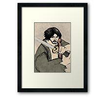 Mitsurugi Japanese Silk Painting Framed Print