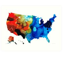 United States of America Map 4 - Colorful USA Art Print