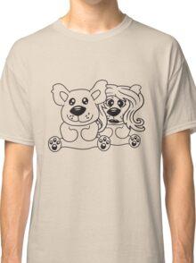 few couple friends love love woman man team Teddy comic cartoon sweet cute Classic T-Shirt