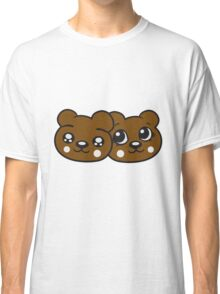 couple couple 2 faces head female girl woman sweet cute comic cartoon teddy bear Classic T-Shirt