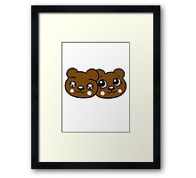 couple couple 2 faces head female girl woman sweet cute comic cartoon teddy bear Framed Print