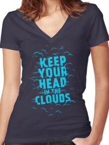 Keep Your Head In The Clouds Women's Fitted V-Neck T-Shirt